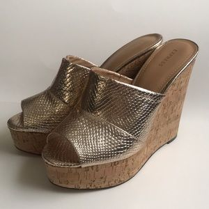 New Express Gold Wedges Shoes Size 10